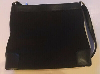 Talbots womens purse black leather and fabric Preowned
