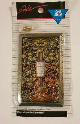 NOS ANTIQUE GOLD REFLECTIVE FLORAL LIGHT SWITCH COVER American Tack METAL NEW