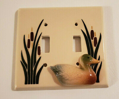 Ceramic 2D DUCK CATTAIL DOUBLE LIGHT SWITCH COVER PLATE All Fired Up COTTAGE