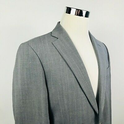 Brooks Brothers Mens 40R Suit Jacket Wool Stretch Gray Striped Two Button Vented