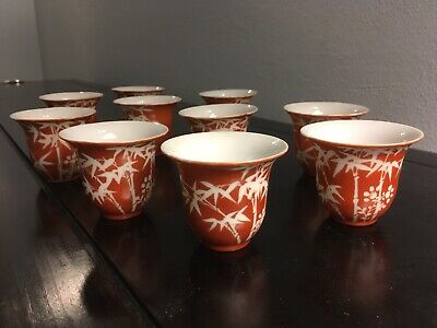 Antique Chinese porcelain tea cups with Hongxian mark