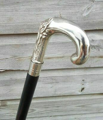 Solid Silver eva Adam Head Vintage BLACK Wooden Walking Stick Cane handmade Gift
