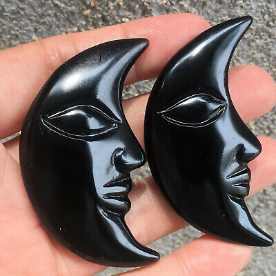 Natural Hand Carved quartz crystal obsidian Moon skull reiki Healing 1pc