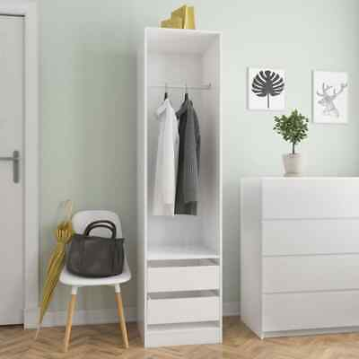 Wardrobe with Drawers High Gloss White50x50x200cm Chipboard Single Wardrobe F9A2