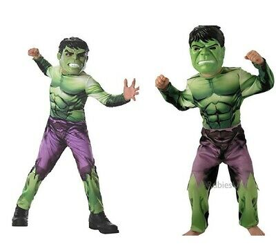 New Christmas Deluxe Incredible Hulk Boys Fancy Dress for Kids Avengers Costume