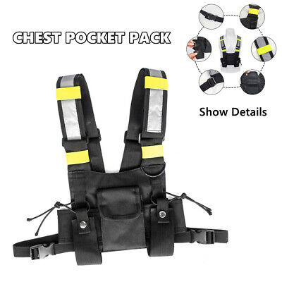 Pocket Radio Chest Harness Front Pack Pouch Holster Vest Rig Reflective Stripe