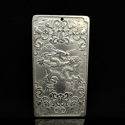 Chinese Collection Tibet Silver Hand Carved Chinese Zodiac Pendant Dragon @01