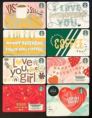NEW 2020 Starbucks RECYCLED WINTER Print Mark Gift Card - Lot of 8 Cards