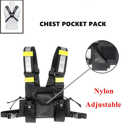 Nylon Radio Chest Harness Chest Front Pack Pouch Holster Vest Rig for Two-Way