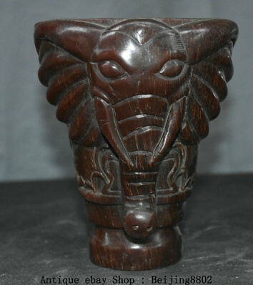 """6.4"""" Marked Old China ox horn Carving Dynasty Elephant Pixiu Drinking Cup Cann"""