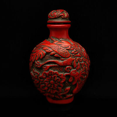 Chinese Exquisite Red Coral Hand Carved Dragon & Phoenix pattern Snuff Bottle