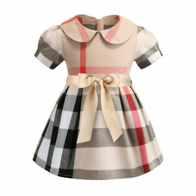 Kids Girls Baby Check Long Sleeve Party Plaid Cotton Lattice Bow Tutu Dresses