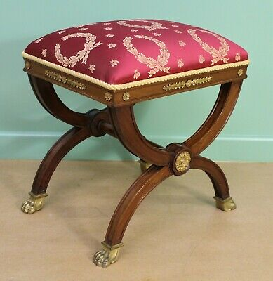 Antique French Empire Maogany X Frame Stool c.1900