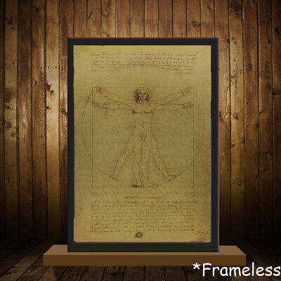 Decor Painting Core Leonardo Da Vinci Vitruvian Man Mona Lisa Antique Poster