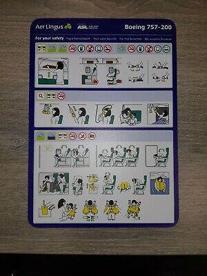 ASL Airlines Ireland Boeing 757-200 Safety Card, Brand New