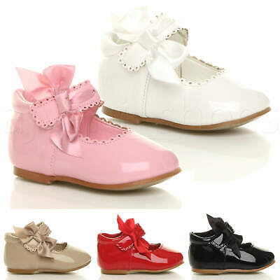 Baby Girls Infant Ribbon Bow Scalloped Bridesmaid Party Mary Jane Shoes Size