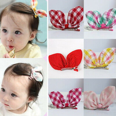 1Pcs Cute Grid Rabbit Ears Hair Clips Girls Hairwear Baby Kids Kairpins Lovely
