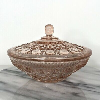 Pink Depression Glass Candy Dish with Lid - Octagon Design