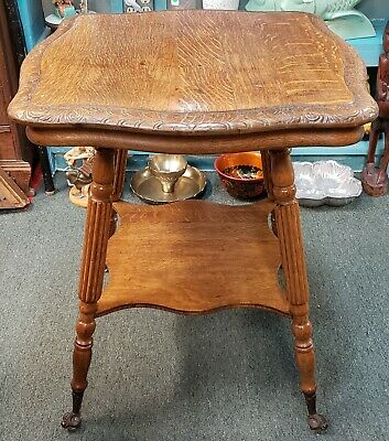 Late 19th Century American Tiger Oak Glass Claw Foot Parlor Table