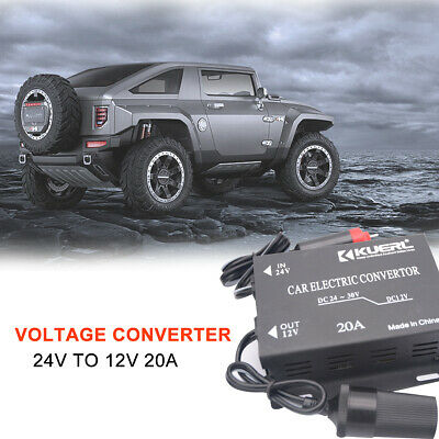 24V to 12V Power Adapter DC Converter Connector Car Motor 20A Charger Lighter AU