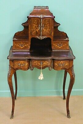Antique Late 19th Century Inlaid KIngwood Bonheur Du Jour
