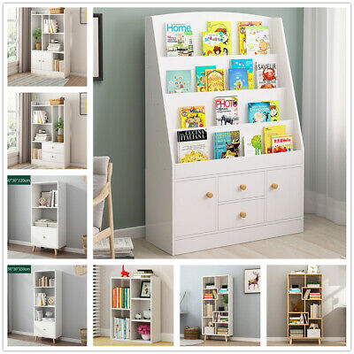Cube Wooden Bookcase Shelving Unit Display with Storage Drawer Home Office White
