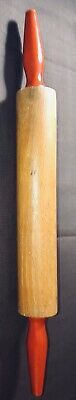 "Rolling Pin Farm House 17.5""L 2"" Dia. Vintage Wood Wooden Red Handles"
