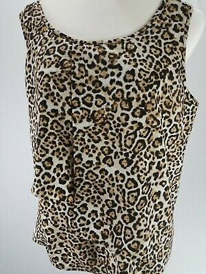 Chicos Blouse Top Womens  Size 2 Short Sleeve Leopard Scoop Neck Brown tiger .