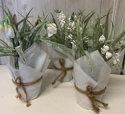 White Spring Artificial Easter Flowers In Pots Frosted Snowdrop Lilly Of Valley