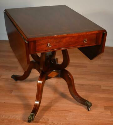 1910s Antique English Regency Mahogany inlaid drop leaf side table center table