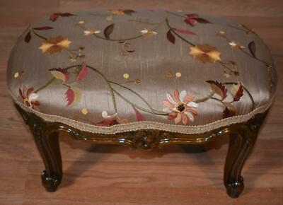 19th C Antique French Louis XV walnut Ottoman Footstool foot rest New Upholstery