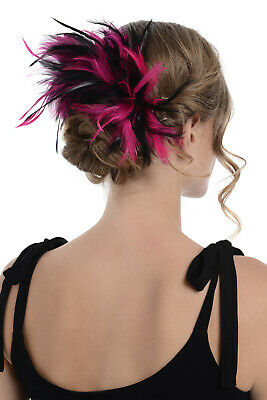 Zac's Alter Ego Two Tone Burlesque Colourful Feather Fascinator On Comb