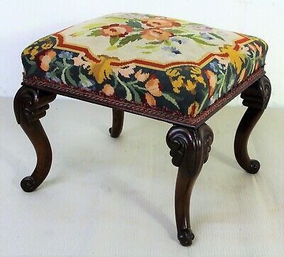 Antique Victorian Mahogany Stool c.1870