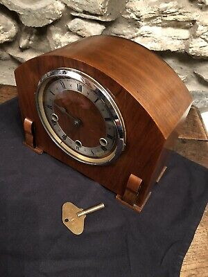 Vintage Mantle Clock Art Deco Westminster Chimes 8 Day Clock By Enfield C:-1940s