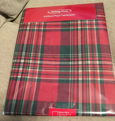 NEW holiday home red green white ashland plaid 52 x 52 square tablecloth