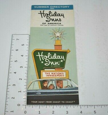 1961 Holiday Inns Hotel Vintage US Nationwide Travel Brochure Vacation Rates Map