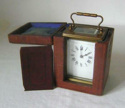 French Brass Carriage Clock:in Working Order with Original Leather Carry Case