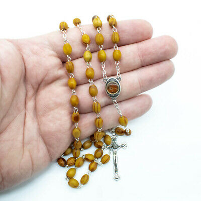 Catholic Olive Wood Rosary Prayer Beads Necklace With Jerusalem Holy Land Soil