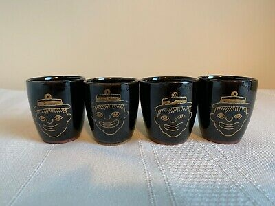Vintage Black Americana Thames Redware Clown Shot Glasses Set Of 4