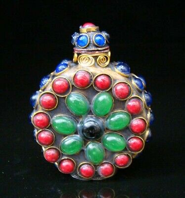 Collectibles Handmade Brass & Ruby & Jade & Lapis Lazuli Inlaid Snuff Bottles