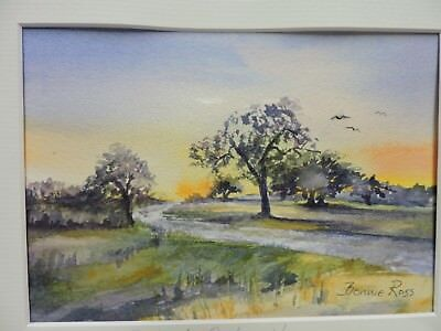 Framed Original Watercolor Painting Hillbrook Orchard in Groton by Bonnie Ross