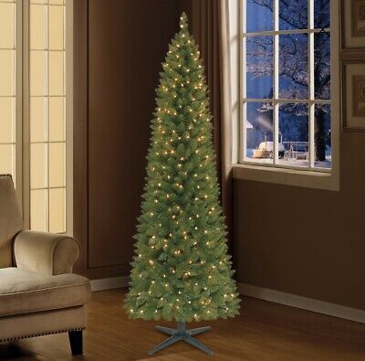 Holiday Time 7.5-ft Pre-Lit Mountain Frost Pine Tree Flocked
