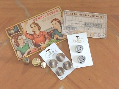 Vintage Sewing Lot- Sewing Susan Needle Pack, Thimble, Buttons