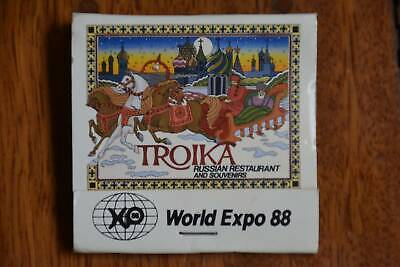 Vintage matches, Expo 88, Troika Russian Restaurant