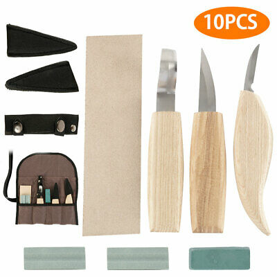 10X/Set Wood Carving Knife Chisel Woodworking Whittling Cutter Chip Hand Tools