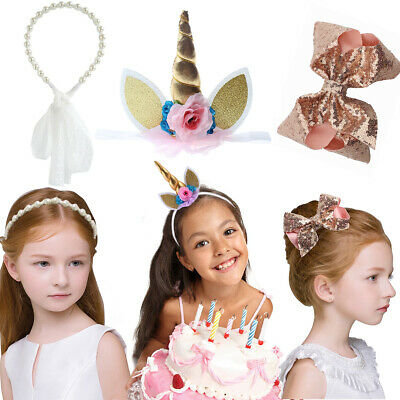 Unicorn Pearl Bowknot Hair Headband Toddler Baby Girls Party Birthday Decor Band