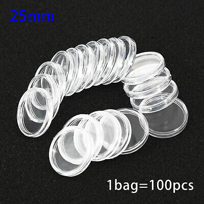 100Pcs Coin Cases Capsules Holder Applied Clear Plastic Round Storage Boxes