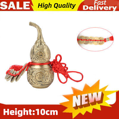 Chinese Feng Shui Brass Statue Gourd Calabash Cucurbit Bottle Collection Durable