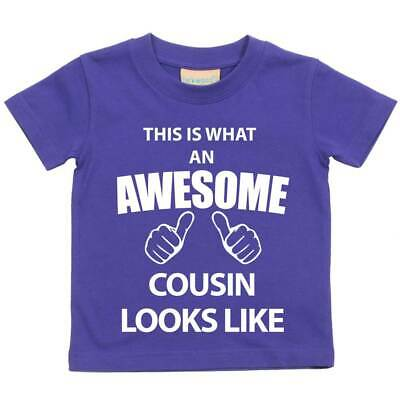 This is What An Awesome Cousin Looks Like Purple Tshirt Baby Toddler Kids Availa