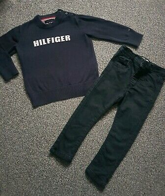 Baby Boys 18-24 TOMMY HILFIGER NEXT jumper Jeans Sweater Outfit navy black 1.5-2